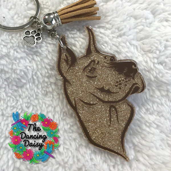 Cropped Great Dane dog keychain