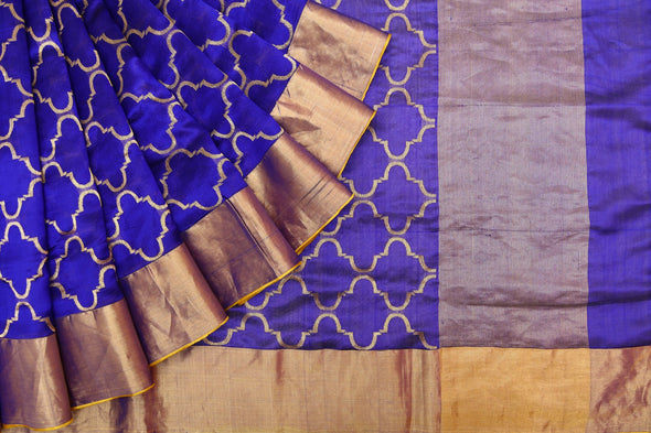 Royal Blue Pranpur Silk Handloom Saree with Gold Jaal Design