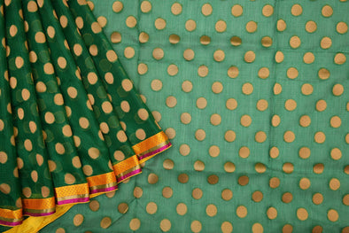 Emerald Green Kota Silk Designer Saree with Gold Polka Dots