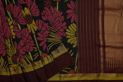 Black Uppada silk Handloom Saree with Flowers