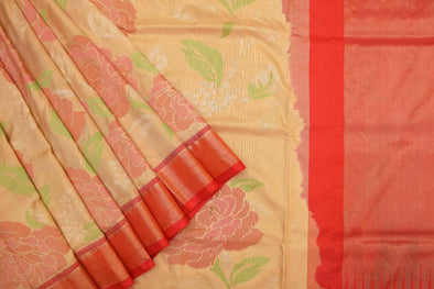 Ligth Gold Uppada Silk Handloom Saree with Flowers
