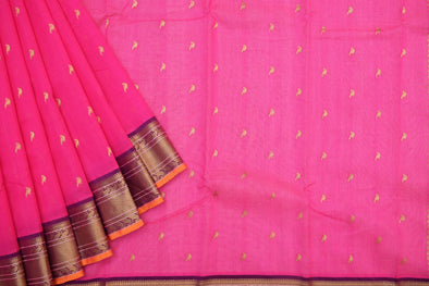 Classic Rani Pink Kora Kanchi Saree with Small Gold Bird Buttas
