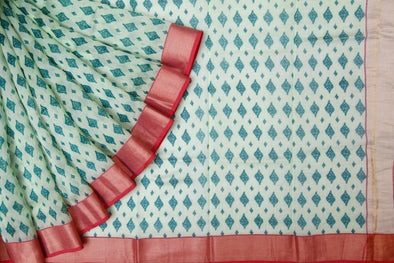 Cream Handloom Chanderi Cotton Printed Saree