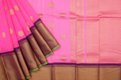 Hot Pink Kora Kanchi Saree Gold Zari Elephants