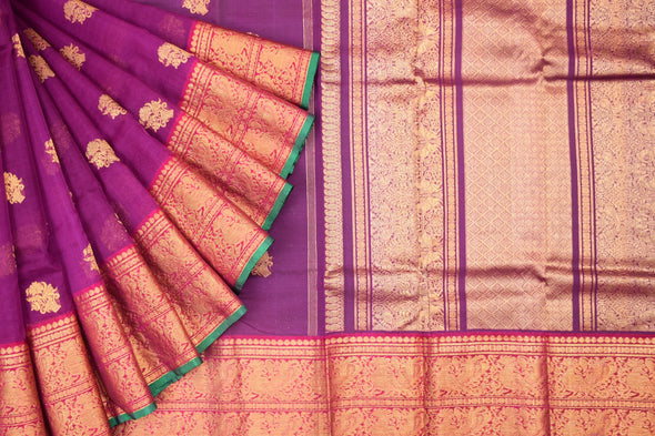 Eggplant Violet Kora Kanchipuram Silk Saree with Gold Floral Buttas
