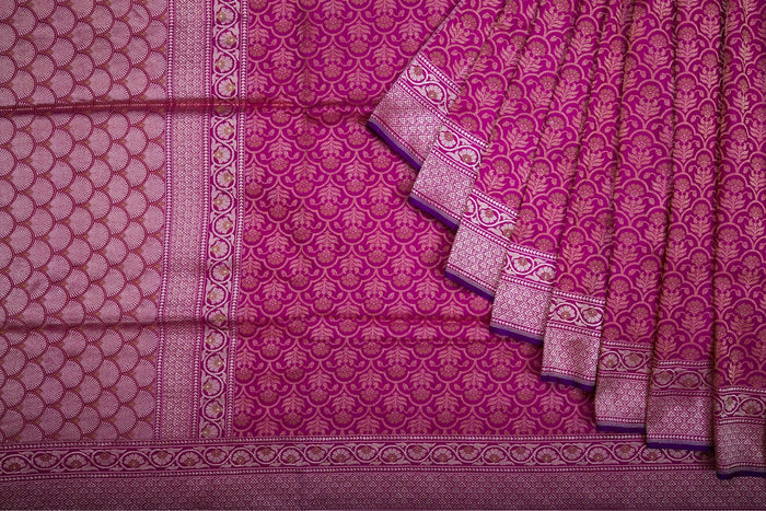 Magenta Pink Color Banarasi Silk Handloom Saree