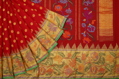 Khadi Jamdhani Handloom Dot Buttas Saree in Maroon