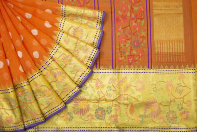 Khadi Jamdhani Handloom Dot Buttas Saree in Orange