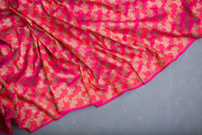 Dual Toned Hot Pink Banarasi Silk Handloom Unstitched Fabric With Floral Jaal-1MTR