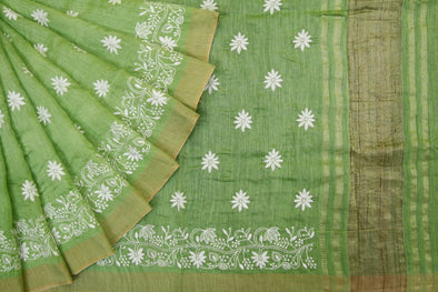 Green Handloom Tussar Embroidery Saree