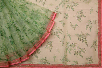 Light Pastel Green Floral Printed Organza Designer Saree