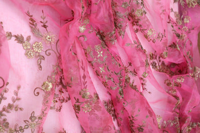 Fuschia Pink Organza Floral Embroidered Unsttched Fabric