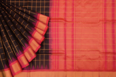 Black Handloom Gadwal Silk Checks Saree