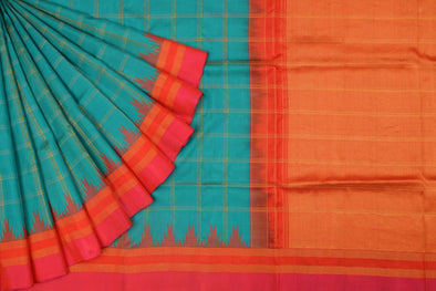 Green Handloom Gadwal Silk Checks Saree