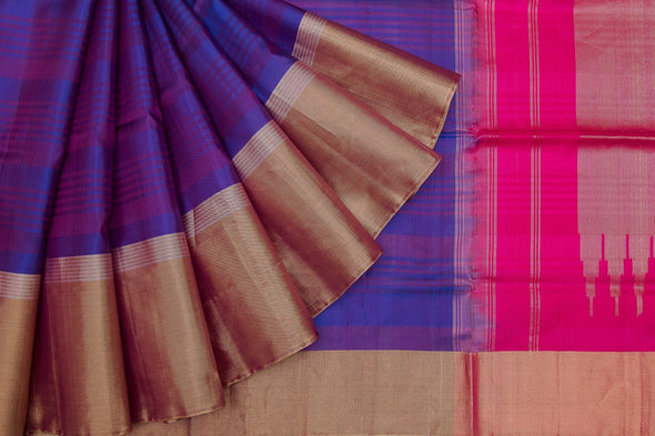 Violet Soft Kanchipuram Silk Handloom Saree With Stripes