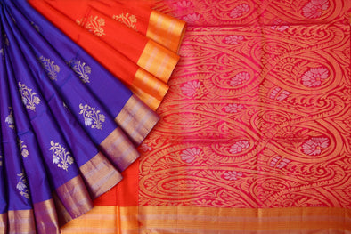 Blue & Multicolor Kanchipuram Handloom Soft Silk Saree