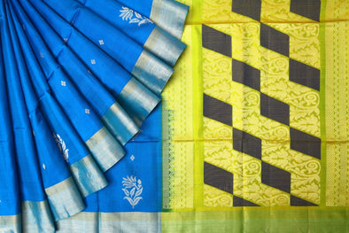 Azure Blue Handloom Kanchipuram Soft Silk Saree
