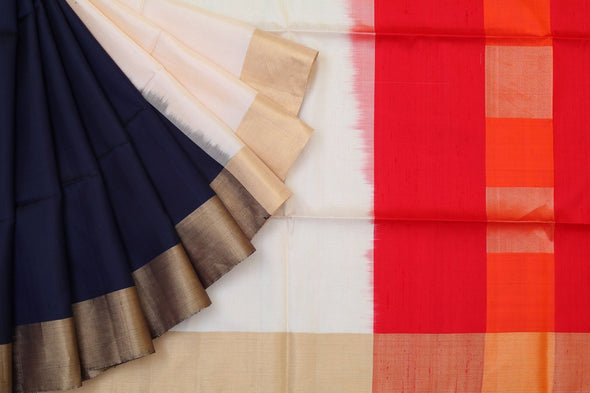 Sophistic Grace Kanchipuram Soft Silk Half-n-Half Saree In Navy Blue And White