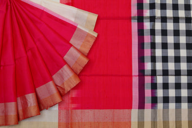 Enchanted Gleam Kanchipuram Soft Silk Half-n-Half Saree In Pink And White