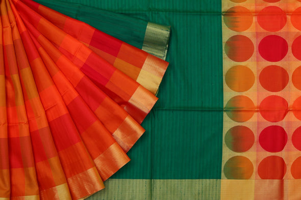 Rainbow Dreams Kanchipuram Soft Silk Half-n-Half Saree In Multi Colour