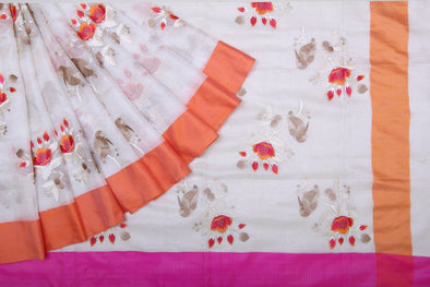 Pearl White Kota Silk Saree With Floral And Birds Embroidery