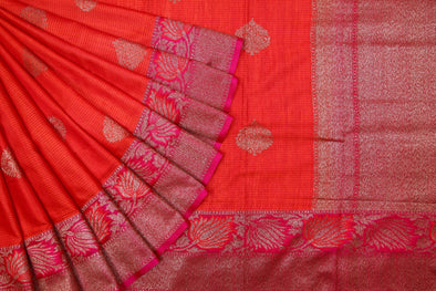 Peach Orange Handloom Tussar Banarasi Silk Saree