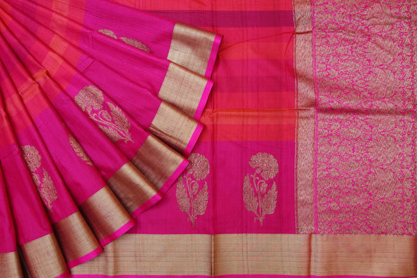 Banarasi Tussar Handloom Daree In Stripes of Pink and Orange.