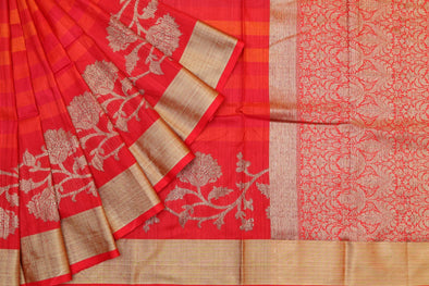 Banarasi Tussar Handloom Striped Saree in Orange & Pink