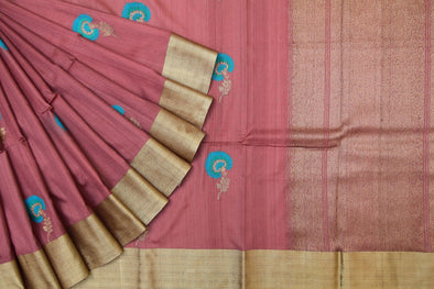 Chestnut Brown Banarasi Tussar Handloom Saree