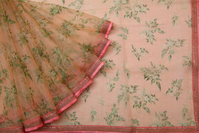 Light Peach Floral Printed Organza Designer Saree