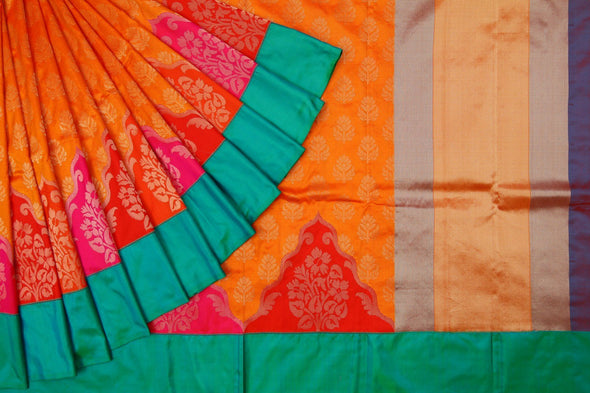 Peach Orange Handloom Banarasi Silk Saree