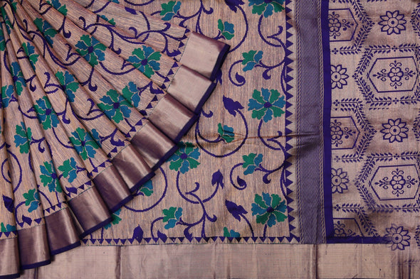 Cream Handloom Tussar Banarasi Silk Saree