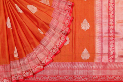 Banarasi Tussar Handloom Saree In Orange & Red