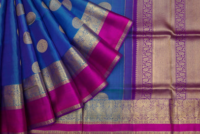Egyptian Blue Soft Kanchipuram Handloom Silk Saree With Chakra Motifs