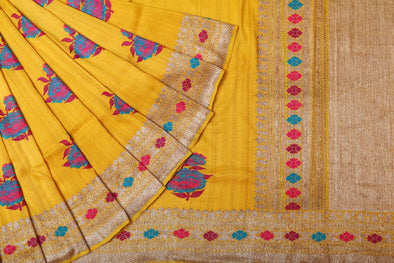 Tussar Jamdhani Embroidery Saree In Yellow