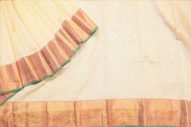 Pastel Cream Kanchipuram Silk Handloom Saree