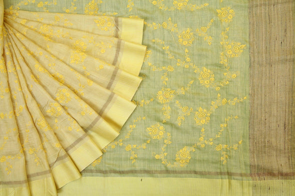 Lemon Yellow Handloom Tussar Embroidery Saree