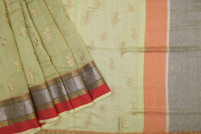 Sage Green Chanderi Embroidered Handloom Saree
