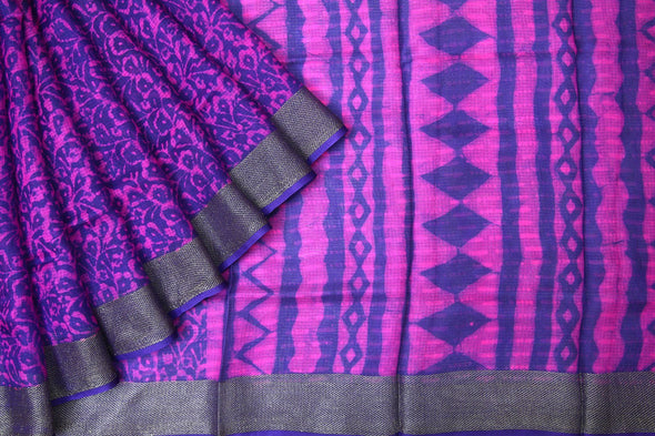 Purple Handloom Kota Silk Printed Saree