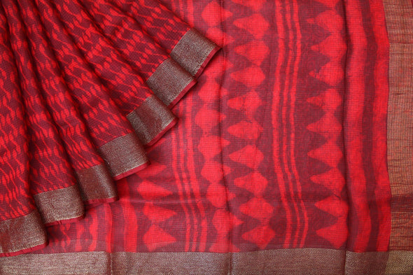 Red Handloom Kota Silk Printed Saree