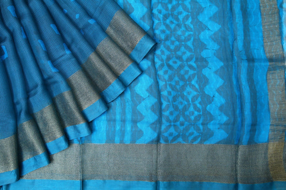 Blue Handloom Kota Silk Printed Saree