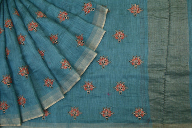 Light Blue Handloom Tussar Embroidery Saree