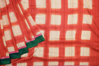 Brick Red Tussar Silk Designer Saree