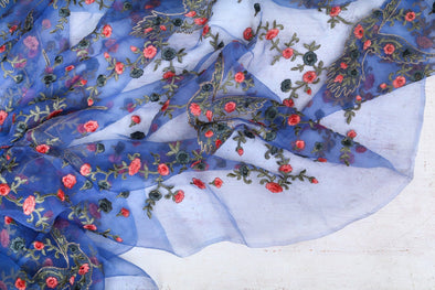 Egyptian Blue Organza Floral Embroidered Unstitched Fabric