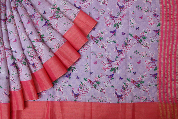 Online shopping for Purple Handloom Linen Saree