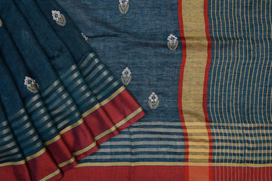 Aegean Blue Linen Embroidered Handloom Saree