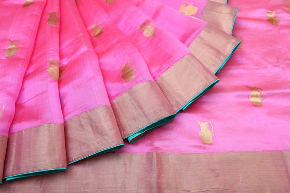 Bubblegum Pink Pranpur Silk Handloom Saree With Vintage Jug Motifs