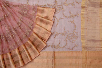 Scintillating Pink Sequinned Organza Embroidered Designer Saree