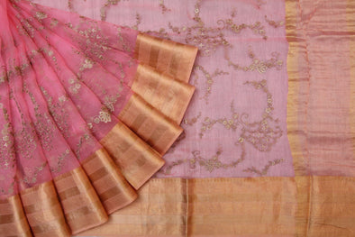 Pink Sequinned Organza Embroidered Designer Saree