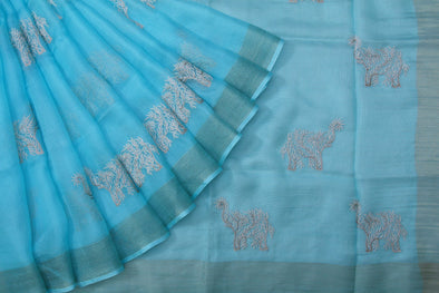 Sky Blue Kota Silk Saree with Embroidered Leafy Vines